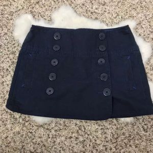 AEO Mini Skirt Casual Blue Cotton Buttons Sz 0
